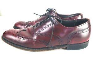 Dexter Mens Burgundy Leather Wingtip Brogue Lace Oxfords Dress Shoes Size 10.5