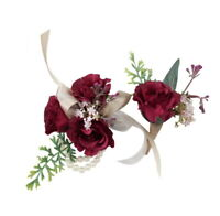 Rustic Corsage Boutonniere: Artificial Burgundy Rosebud with Pink Green Accents