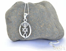 pendant Israel Star of David Menorah Sterling Silver 925 Messianic Seal chain &