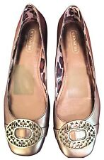 Coach BABS Metallic Gold Leather Ballet Flats Women's Shoes Size 7.5 MSRP $170