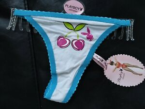 Playboy  Bunny  cherry Logo  Cotton,Thong Knickers Briefs Pants size 14