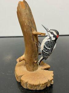 VTG Signed HOLMES Carved Wood Painted Bird Model Decoy Folk Art Statue Figurine