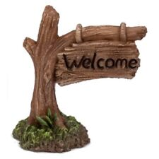 Vivid Miniature World MW03-019 Resin Welcome Tree Trunk Sign by Vivid Arts
