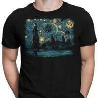 Starry Dementors Harry Potter Starry Night Movie Art Mashup Black T-Shirt S-6XL