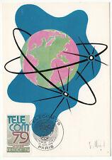 CARTE MAXIMUM FDC 1979 TIMBRE N° 2055 TELECOM 79 SIGLE DE L  EXPOSITION