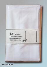 12 Stück weiße Herren Stofftaschentuch Satin reinweiß Taschentücher Nastücher