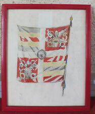 aquarelle peinture signé Fred Fay daté 1934 Rome drapeau