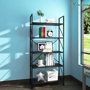 YITAHOME 5-Tier Bookshelf Storage Rack Display Shelving Organizer Industrial BLK