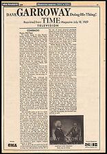 DAVE GARROWAY__Original 1969 Trade AD / TV series promo / poster__TIME magazine