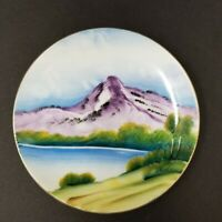 "Vintage Occupied Japan China Hand Painted 5"" Plate Mountain Lake Trees"