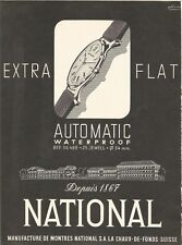 vintage 1958 print ad NATIONAL AUTOMATIC Swiss Suisse watch MID CENTURY ART