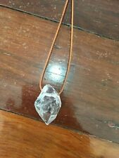 Handmade Clear Quartz Pendant Brown Leather Adjustable Necklace NEW