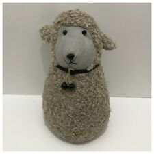 Door Stop Sheep with Two Black Bells White Farmhouse Farm Country Lamb