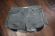 Free People Women's Black Denim Shorts Cut Offs Distressed Lace Size 27