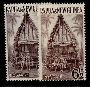 AUSTRALIA - Papua New Guinea QEII SG7 + 7a, 6½d SHADE VARIETIES, M MINT. Cat £10