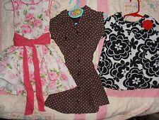 LOT of 3) NEW* Girls Sz 2T Dresses; Floral, Brown w Dots & Black/White Mod Flora