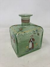 Vintage Hand Blown Bottle Ink Well Perfume With Raised Paint