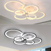 Modern 6 Circle Acrylic Ring LED Ceiling Chandelier Light Pendant Remote Control