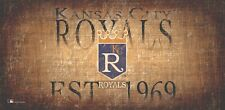 "Kansas City Royals Throwback Retro Heritage Est Wood Sign 12"" x 6"" Wall Decor"