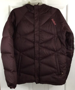 Burton Women's Reversible Down Hooded Ski/Snow Jacket Dot Circle Burgundy Size S