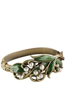 Victorian Trading Co Shelley Cooper Lily Of The Valley Brass & Pearl Bracelet