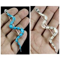 Blue Turquoise Mother Of Pearl 925 Sterling Silver Snake Brooch