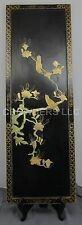 """Vintage Oriental Japanese Black Lacquer Mother of Pearl Birds Wall Decor 12""""x36"""""""