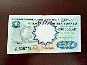💰 VINTAGE 1959 MALAYA AND BRITISH BORNEO 1 DOLLAR TDLR RARE 💰