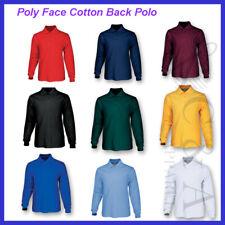 Kids Boys Girls Poly Face Cotton Back Long Sleeve Polo Anti-Pilling School Wear