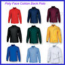 Unisex Adults Poly Face Cotton Back Long Sleeve Polo Anti-Pilling Casual Wear