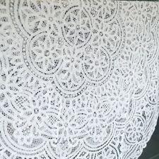 "Gorgeous 66"" Round FULL Battenburg Lace White Cotton Tablecloth Topper Doily"