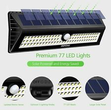 77 LED Super Solar Powered PIR Motion Sensor Wall Outdoor Garden Light Lamp