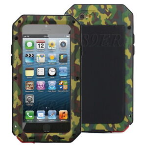 Heavy Duty Camo Metal Cases Cover + Gorilla Glass Screen Protector For iPhone