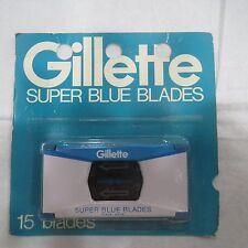15 Gillette Super Blue Double Edge safety Razor Blades vintage shaving pack set