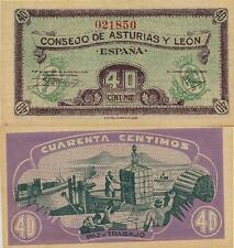 40 Céntimos. Consejo de Asturias y León. Sin serie. Nº 021850. Tamaño 92x45 mm.