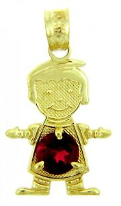 Fine Yellow Gold January Birthstone Dark Red Round CZ Baby Boy Charm Pendant