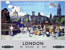 London Trafalgar Square (old rail ad.) large metal sign 400mm x 300mm (og)