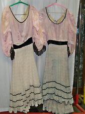 1930's vintage Gibson Girl Cakewalk Dresses - Blush with Black Velvet - Poor