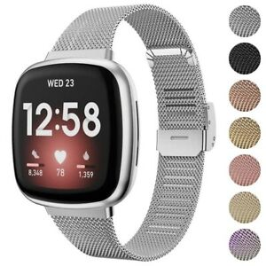StrapsCo Slim Stainless Steel Mesh Watch Band Strap for Fitbit Sense