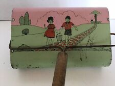 Vintage Child's Tin Litho Jack & Jill Toy Vacuum Sweeper, Buffalo Toy & Tool, NY