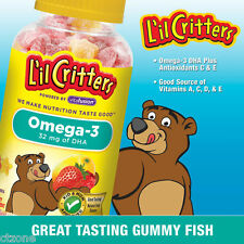 L'il Critters Gummy Fish Omega-3 DHA Dietary Supplement 180 Ct Plastic Bottle