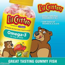 L'il Critters OMEGA-3 DHA Gummy Fish Vitamin A D3 C Children Kids 180 GummyBears
