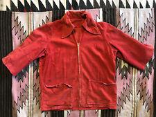 Vintage 30's 40's 50's Red Smock Short Sleeve Jacket Corduroy M/L Workwear Chore
