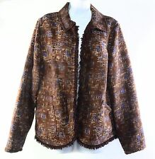 TANJAY Brown Multi Open Front Reversible Fringed Jacket Blazer Women's Size 18