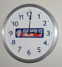 "14"" Round Aluminum Frame FEATHERLITE TRAILERS Wall Clock Camper RV Motor Home"