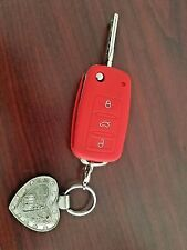 RED SILICONE COVER FOR VW 3-BUTTON REMOTE FOLDING FLIP KEY for VW Touareg Eos