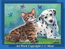 Bengal Kitten Cat Dalmatian Puppy Pup Dog Aceo Limited Edition Art Print