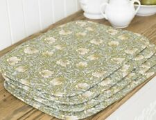 William Morris Pimpernel Green 4 Quilted Cotton Floral Placemats.