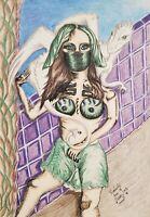White Dragon Princess Ninja Art Print 8 x 10 Artist Kimberly Helgeson Sams