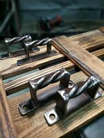 ANTIQUE Pull Drawer WROUGHT IRON Door Handle Rustic Vintage Handmade Twist 1pc